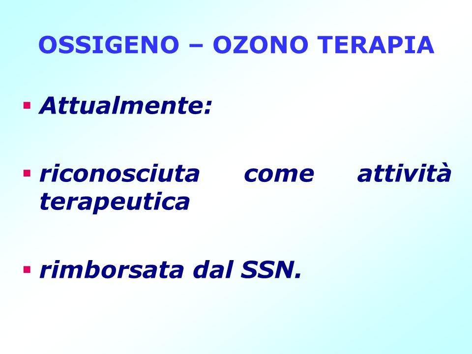 OSSIGENO – OZONO TERAPIA Attualmente: riconosciuta come attività terapeutica rimborsata dal SSN.