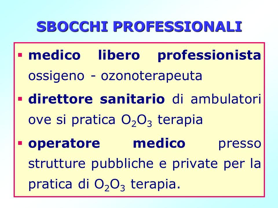 SBOCCHI PROFESSIONALI medico libero professionista ossigeno - ozonoterapeuta direttore sanitario di ambulatori ove si pratica O 2 O 3 terapia operator