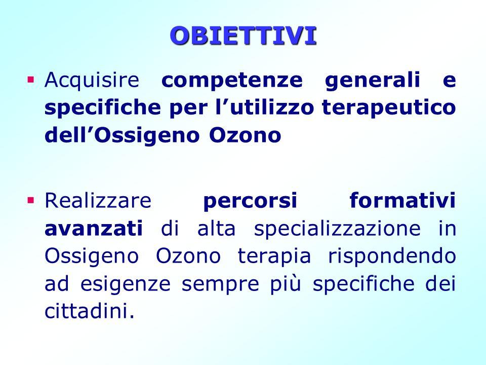 OBIETTIVI Acquisire competenze generali e specifiche per lutilizzo terapeutico dellOssigeno Ozono Realizzare percorsi formativi avanzati di alta speci