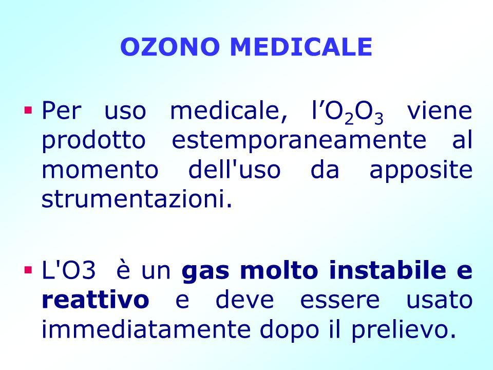 OZONO MEDICALE Per uso medicale, lO 2 O 3 viene prodotto estemporaneamente al momento dell'uso da apposite strumentazioni. L'O3 è un gas molto instabi