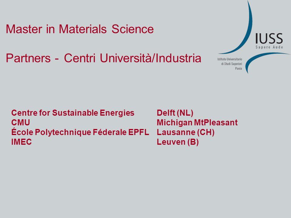Master in Materials Science Un caso: Andrea ROSSI Laurea (5-ennale) in Scienza dei Materiali …