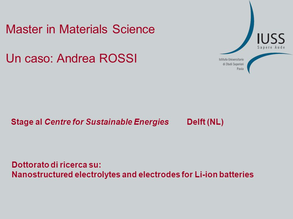 Master in Materials Science Un caso: Andrea ROSSI Stage al Centre for Sustainable EnergiesDelft (NL) Dottorato di ricerca su: Nanostructured electroly