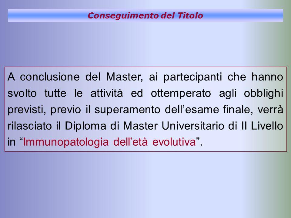 Conseguimento del Titolo A conclusione del Master, ai partecipanti che hanno svolto tutte le attività ed ottemperato agli obblighi previsti, previo il