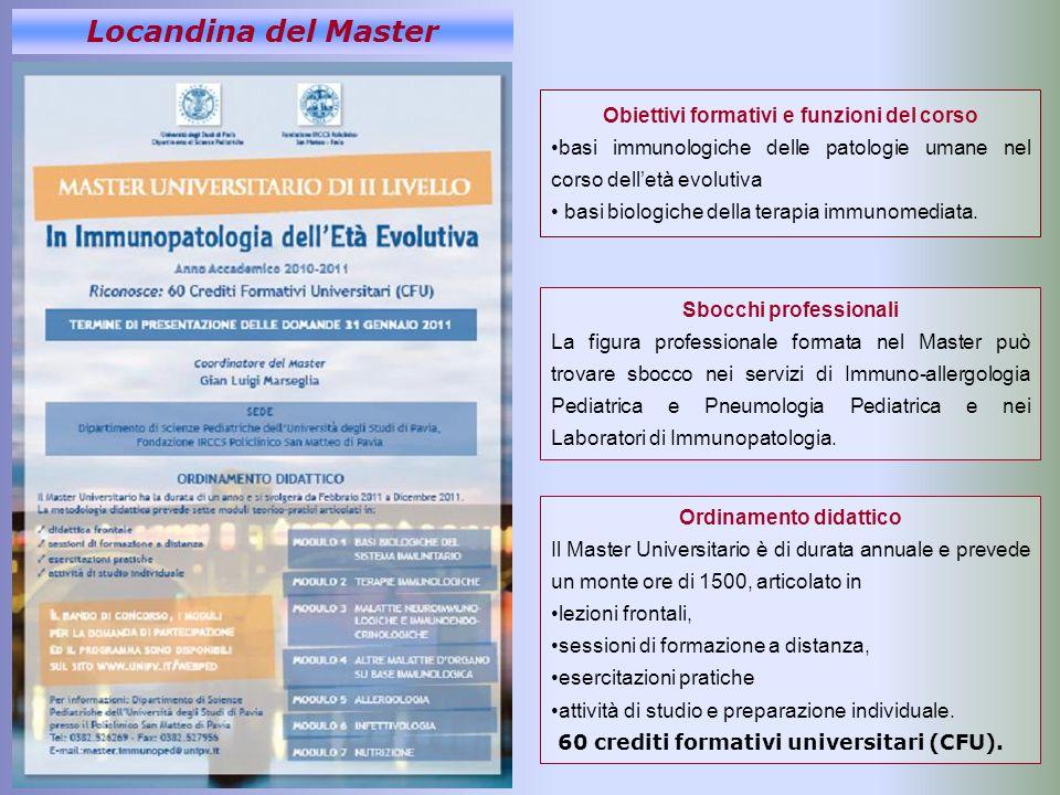 Locandina del Master Obiettivi formativi e funzioni del corso basi immunologiche delle patologie umane nel corso delletà evolutiva basi biologiche del