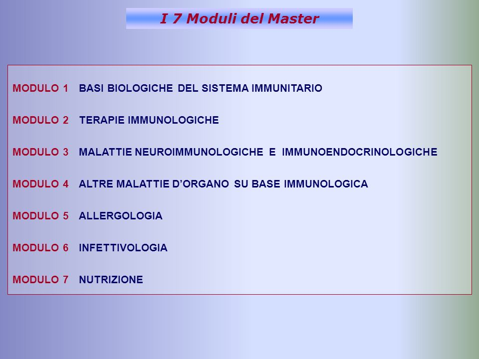I 7 Moduli del Master MODULO 1 BASI BIOLOGICHE DEL SISTEMA IMMUNITARIO MODULO 2 TERAPIE IMMUNOLOGICHE MODULO 3 MALATTIE NEUROIMMUNOLOGICHE E IMMUNOENDOCRINOLOGICHE MODULO 4 ALTRE MALATTIE DORGANO SU BASE IMMUNOLOGICA MODULO 5 ALLERGOLOGIA MODULO 6 INFETTIVOLOGIA MODULO 7 NUTRIZIONE