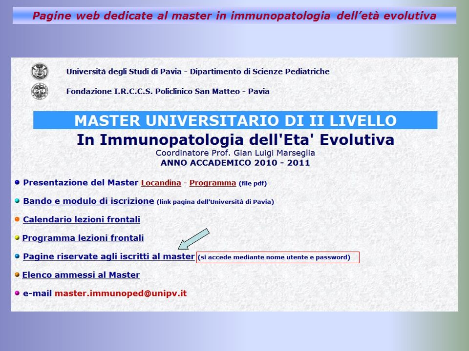 Pagine web dedicate al master in immunopatologia delletà evolutiva