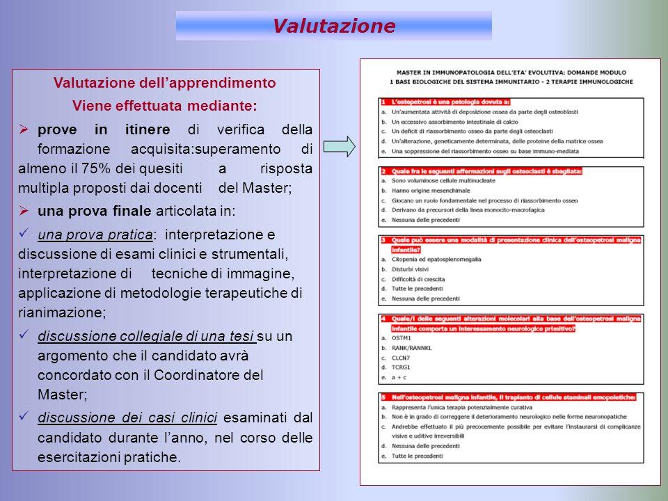 Valutazione Valutazione dellapprendimento Viene effettuata mediante: prove in itinere di verifica della formazione acquisita:superamento di almeno il