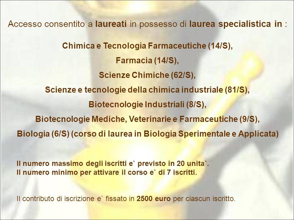 Accesso consentito a laureati in possesso di laurea specialistica in : Chimica e Tecnologia Farmaceutiche (14/S), Farmacia (14/S), Scienze Chimiche (6