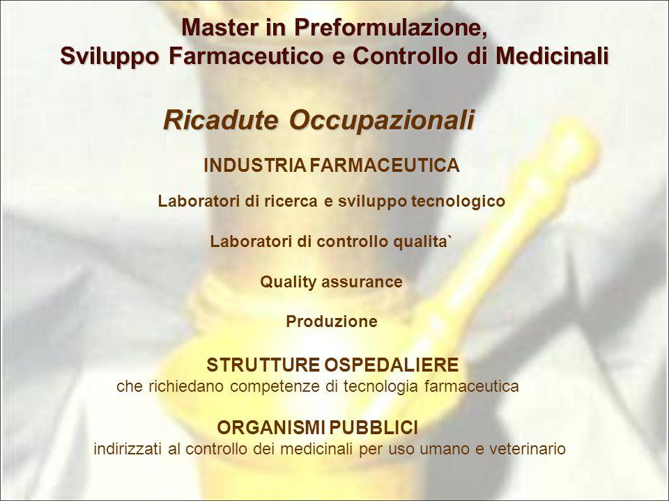 Ricadute Occupazionali Laboratori di ricerca e sviluppo tecnologico Laboratori di controllo qualita` Quality assurance Produzione INDUSTRIA FARMACEUTI
