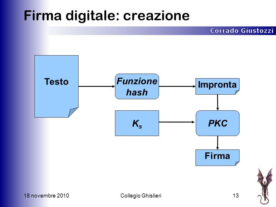 18 novembre 2010Collegio Ghislieri13 Firma digitale: creazione Testo Impronta Funzione hash KsKs Firma PKC