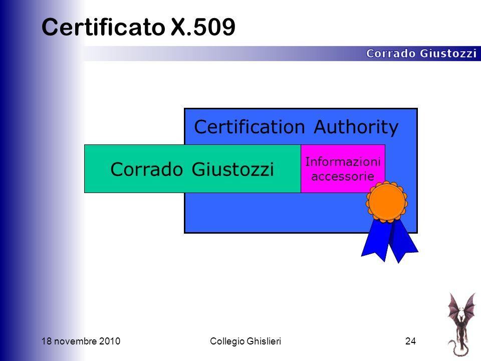 18 novembre 2010Collegio Ghislieri24 Certificato X.509 Corrado Giustozzi Informazioni accessorie Certification Authority