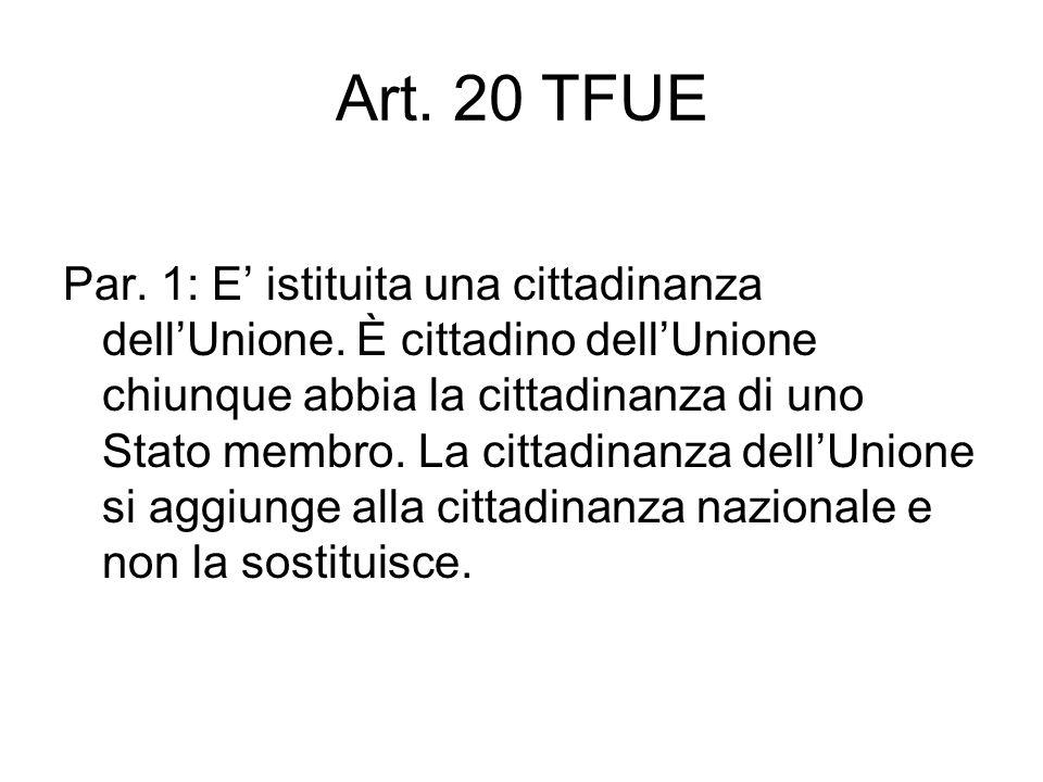 Art. 20 TFUE Par. 1: E istituita una cittadinanza dellUnione.