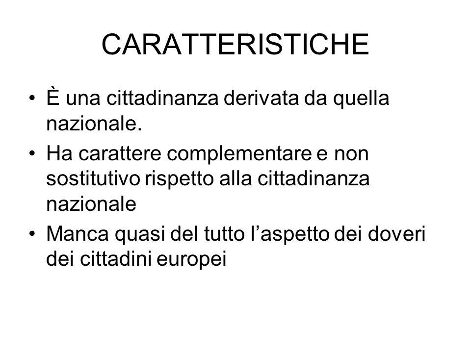 CARATTERISTICHE È una cittadinanza derivata da quella nazionale.