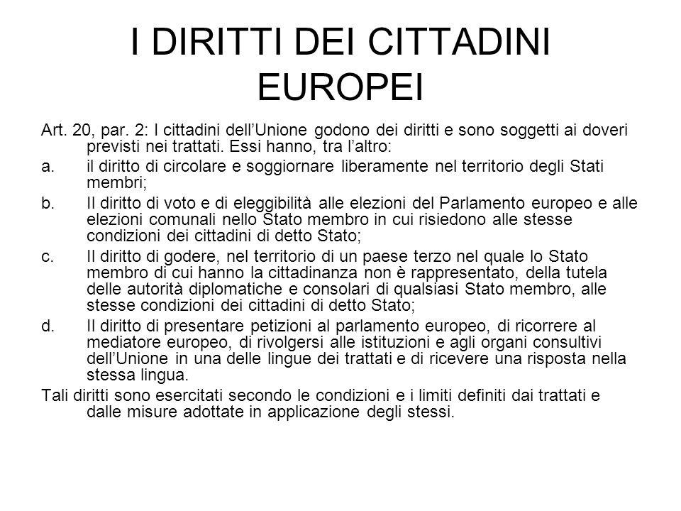 I DIRITTI DEI CITTADINI EUROPEI Art. 20, par.