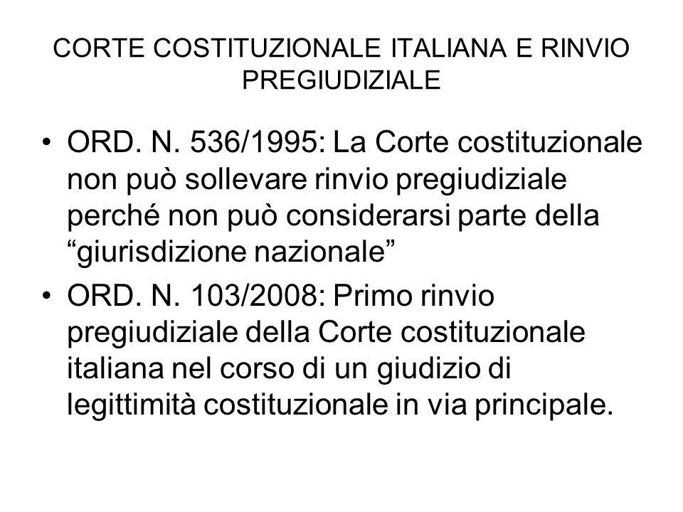 CORTE COSTITUZIONALE ITALIANA E RINVIO PREGIUDIZIALE ORD. N. 536/1995: La Corte costituzionale non può sollevare rinvio pregiudiziale perché non può c