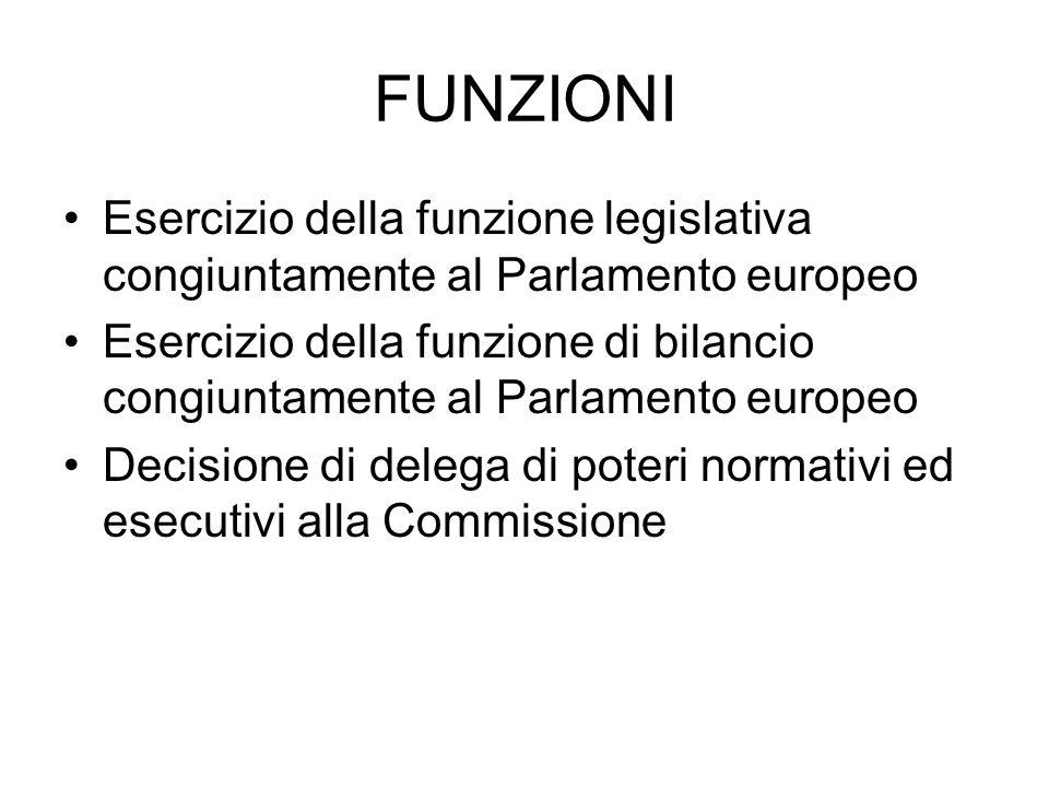 FUNZIONI Esercizio della funzione legislativa congiuntamente al Parlamento europeo Esercizio della funzione di bilancio congiuntamente al Parlamento europeo Decisione di delega di poteri normativi ed esecutivi alla Commissione