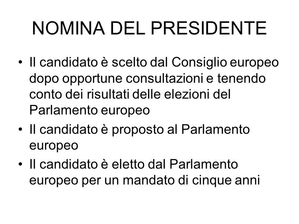NOMINA DEL PRESIDENTE Il candidato è scelto dal Consiglio europeo dopo opportune consultazioni e tenendo conto dei risultati delle elezioni del Parlam