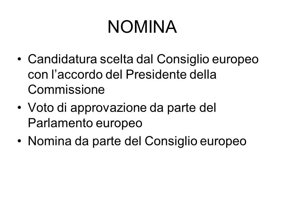 NOMINA Candidatura scelta dal Consiglio europeo con laccordo del Presidente della Commissione Voto di approvazione da parte del Parlamento europeo Nom