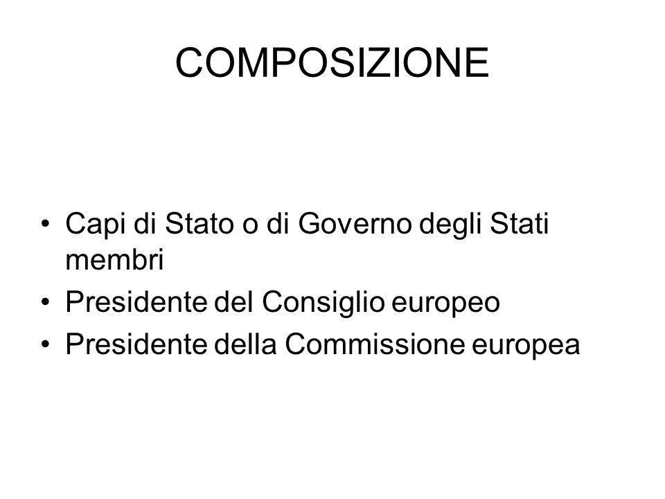 COMPOSIZIONE Capi di Stato o di Governo degli Stati membri Presidente del Consiglio europeo Presidente della Commissione europea