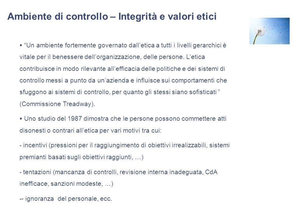 Ambiente di controllo – Integrità e valori etici Un ambiente fortemente governato dalletica a tutti i livelli gerarchici è vitale per il benessere del