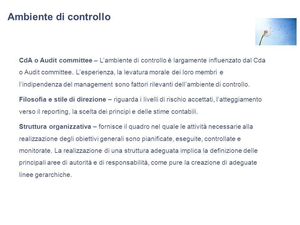 Ambiente di controllo CdA o Audit committee – Lambiente di controllo è largamente influenzato dal Cda o Audit committee. Lesperienza, la levatura mora