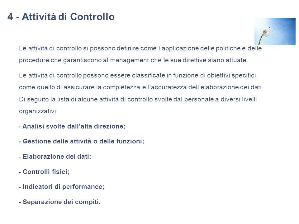 4 - Attività di Controllo Le attività di controllo si possono definire come lapplicazione delle politiche e delle procedure che garantiscono al manage
