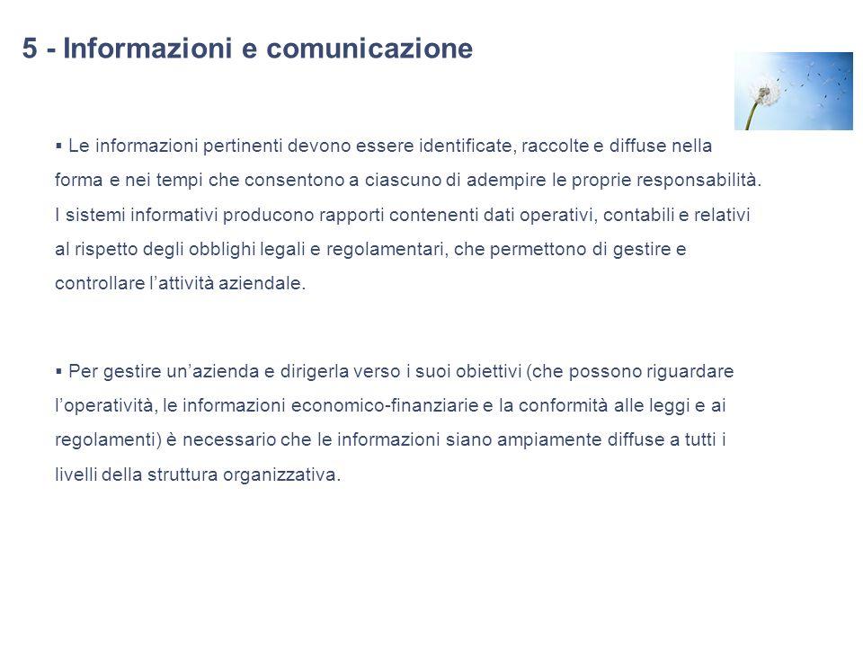 5 - Informazioni e comunicazione Le informazioni pertinenti devono essere identificate, raccolte e diffuse nella forma e nei tempi che consentono a ci