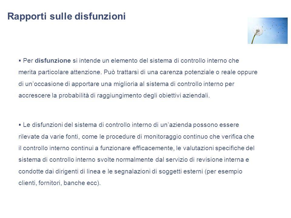 Rapporti sulle disfunzioni Per disfunzione si intende un elemento del sistema di controllo interno che merita particolare attenzione. Può trattarsi di