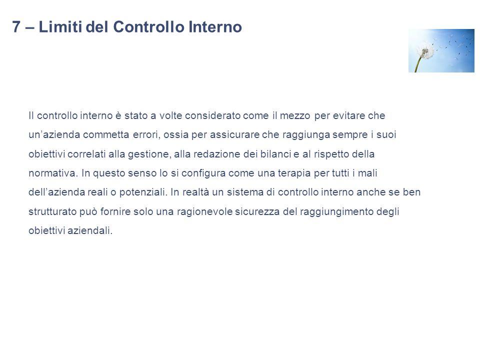 7 – Limiti del Controllo Interno Il controllo interno è stato a volte considerato come il mezzo per evitare che unazienda commetta errori, ossia per a
