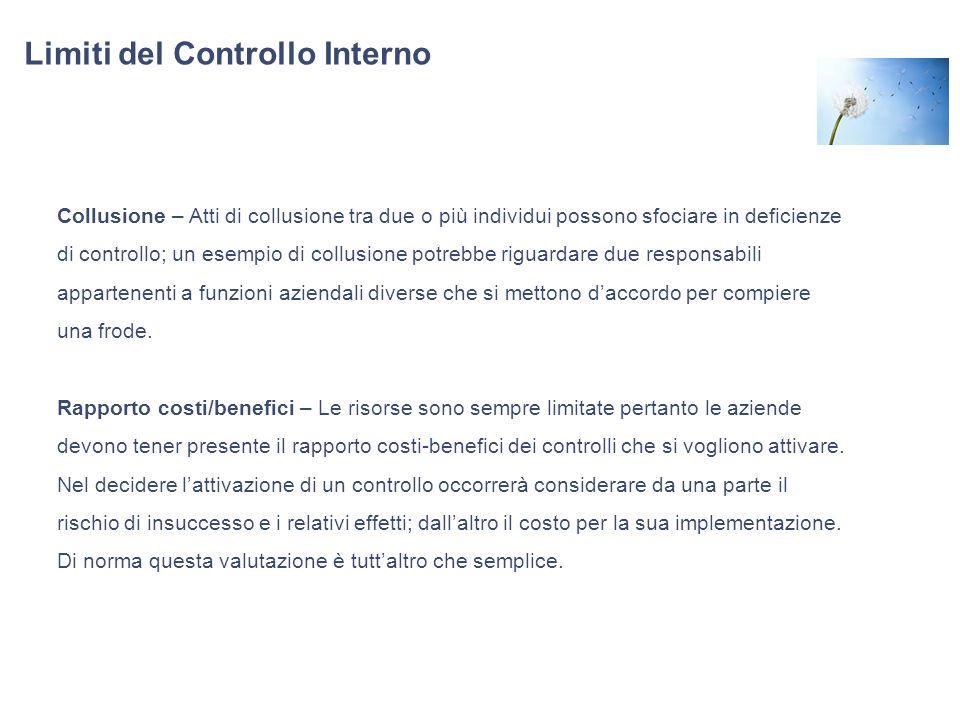 Limiti del Controllo Interno Collusione – Atti di collusione tra due o più individui possono sfociare in deficienze di controllo; un esempio di collus