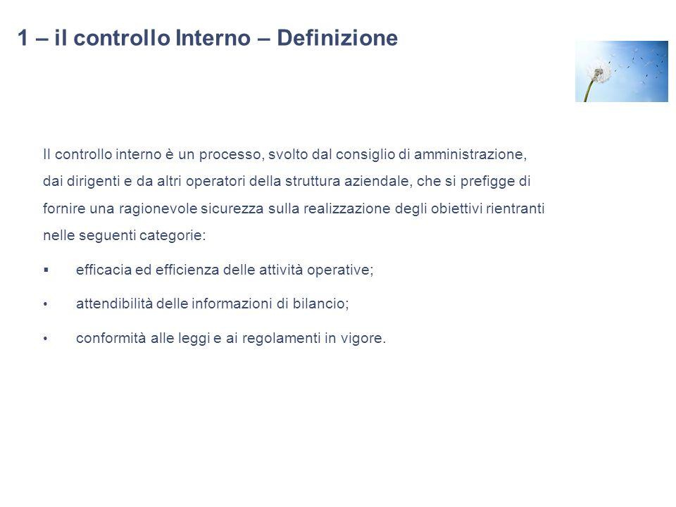 1 – il controllo Interno – Definizione Il controllo interno è un processo, svolto dal consiglio di amministrazione, dai dirigenti e da altri operatori
