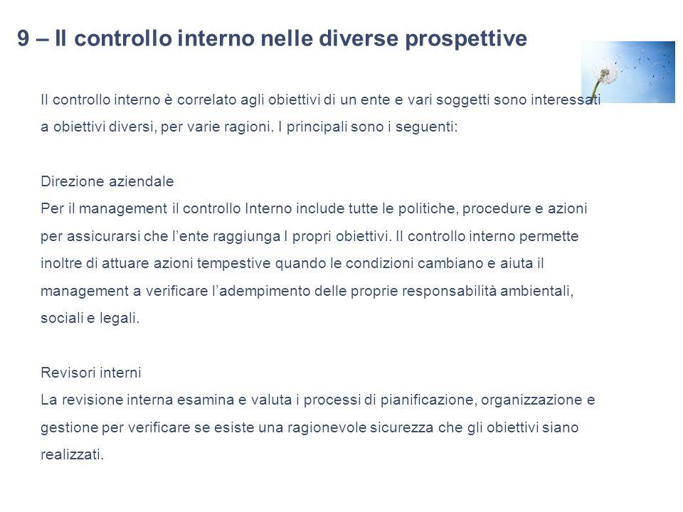 9 – Il controllo interno nelle diverse prospettive Il controllo interno è correlato agli obiettivi di un ente e vari soggetti sono interessati a obiet