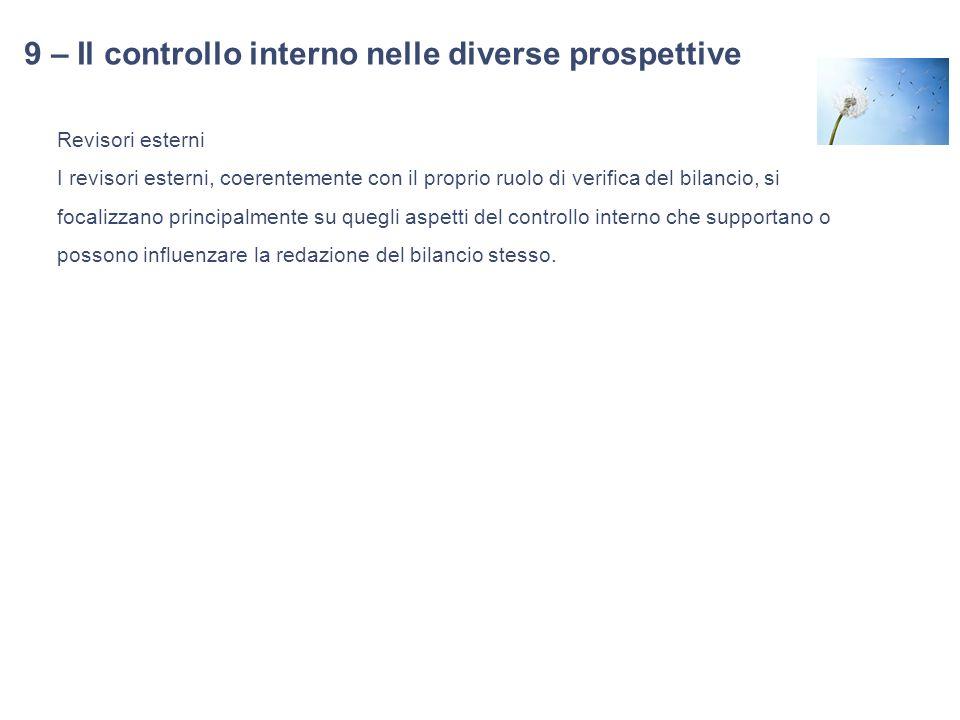 9 – Il controllo interno nelle diverse prospettive Revisori esterni I revisori esterni, coerentemente con il proprio ruolo di verifica del bilancio, s