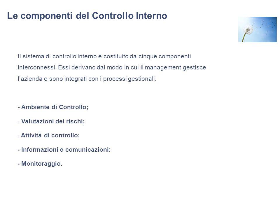 Le componenti del Controllo Interno Il sistema di controllo interno è costituito da cinque componenti interconnessi. Essi derivano dal modo in cui il