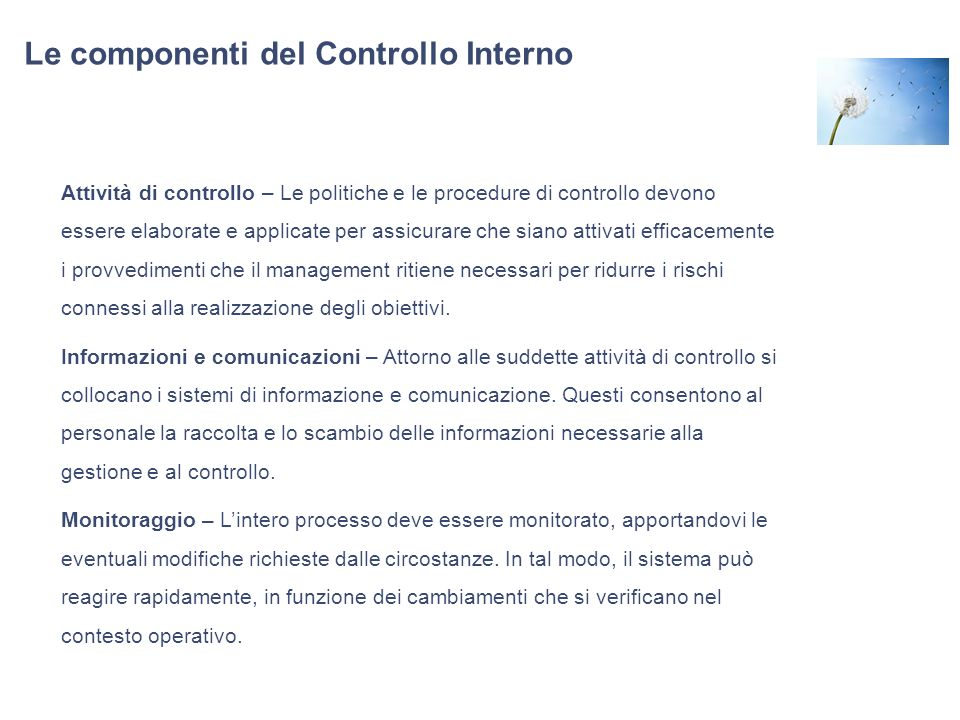Le componenti del Controllo Interno Attività di controllo – Le politiche e le procedure di controllo devono essere elaborate e applicate per assicurar