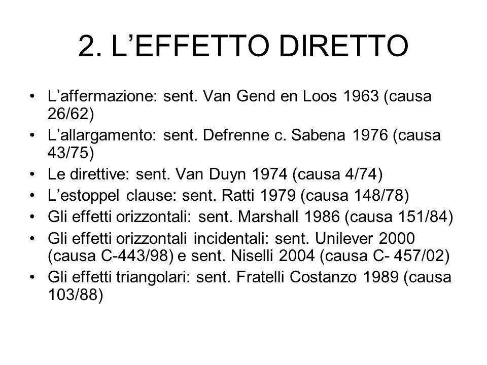 2. LEFFETTO DIRETTO Laffermazione: sent. Van Gend en Loos 1963 (causa 26/62) Lallargamento: sent. Defrenne c. Sabena 1976 (causa 43/75) Le direttive: