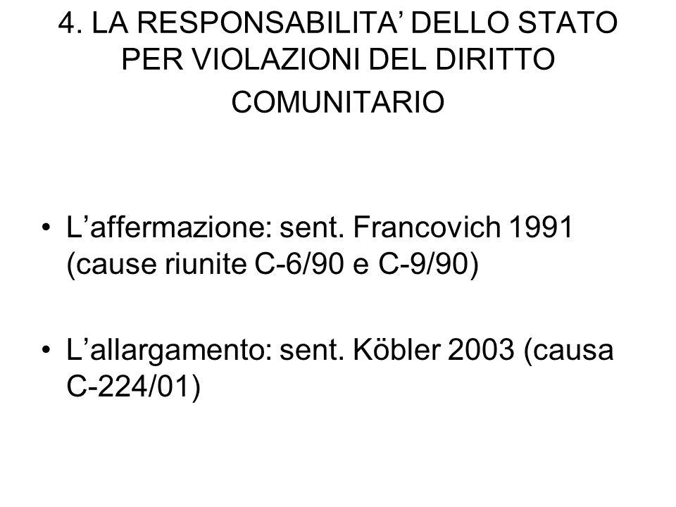 4. LA RESPONSABILITA DELLO STATO PER VIOLAZIONI DEL DIRITTO COMUNITARIO Laffermazione: sent. Francovich 1991 (cause riunite C-6/90 e C-9/90) Lallargam