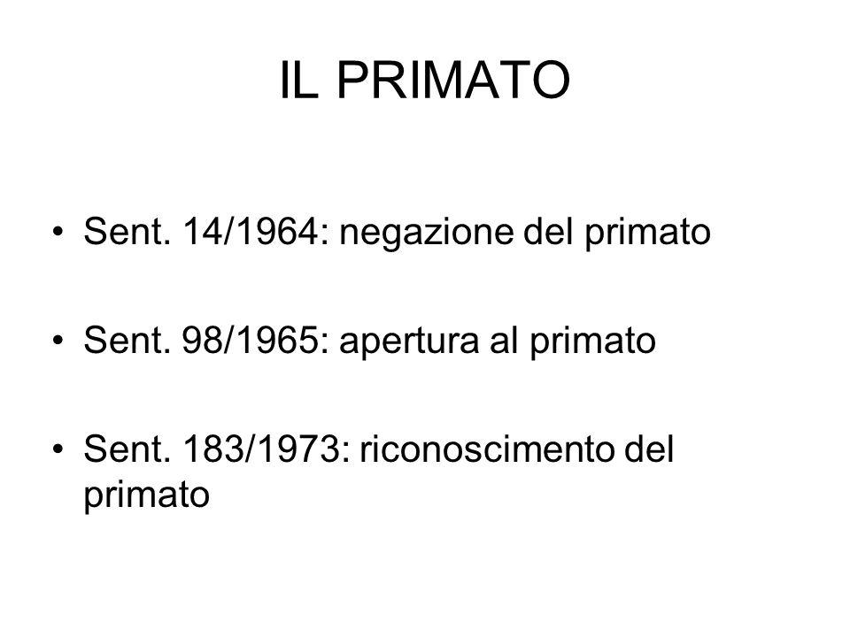 IL PRIMATO Sent. 14/1964: negazione del primato Sent. 98/1965: apertura al primato Sent. 183/1973: riconoscimento del primato