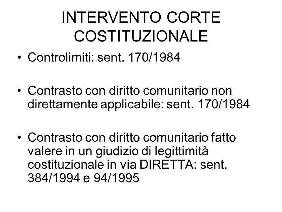 INTERVENTO CORTE COSTITUZIONALE Controlimiti: sent. 170/1984 Contrasto con diritto comunitario non direttamente applicabile: sent. 170/1984 Contrasto