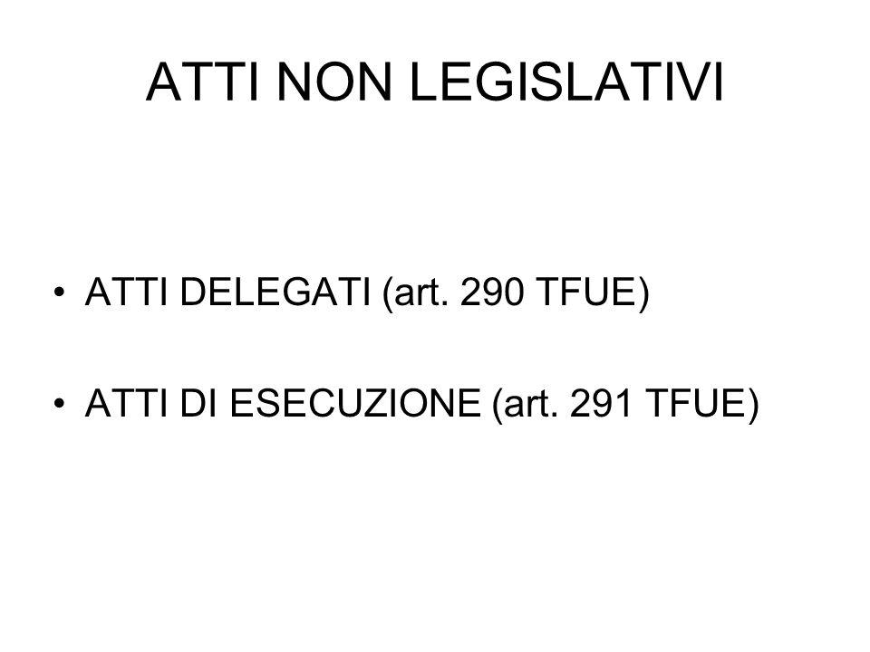 ATTI NON LEGISLATIVI ATTI DELEGATI (art. 290 TFUE) ATTI DI ESECUZIONE (art. 291 TFUE)