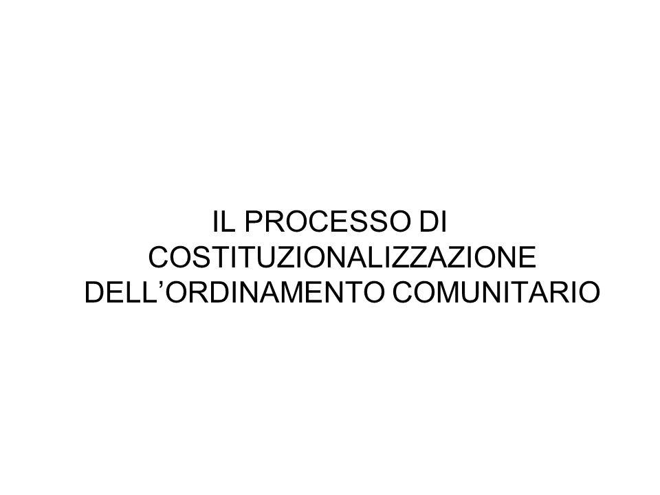 IL PROCESSO DI COSTITUZIONALIZZAZIONE DELLORDINAMENTO COMUNITARIO