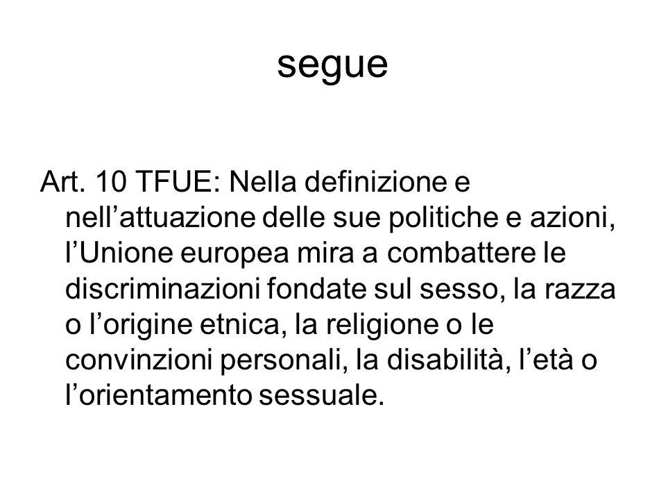 segue Art. 10 TFUE: Nella definizione e nellattuazione delle sue politiche e azioni, lUnione europea mira a combattere le discriminazioni fondate sul