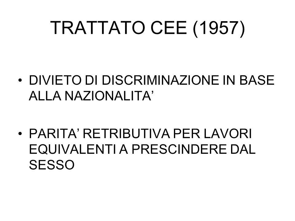 TRATTATO CEE (1957) DIVIETO DI DISCRIMINAZIONE IN BASE ALLA NAZIONALITA PARITA RETRIBUTIVA PER LAVORI EQUIVALENTI A PRESCINDERE DAL SESSO