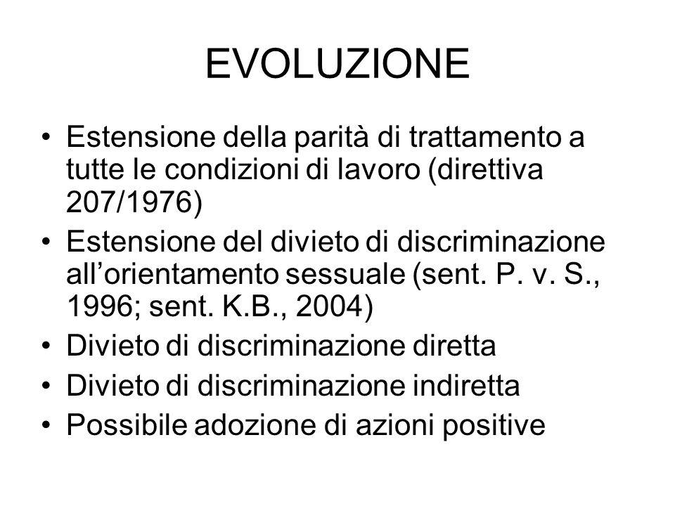 EVOLUZIONE Estensione della parità di trattamento a tutte le condizioni di lavoro (direttiva 207/1976) Estensione del divieto di discriminazione allor