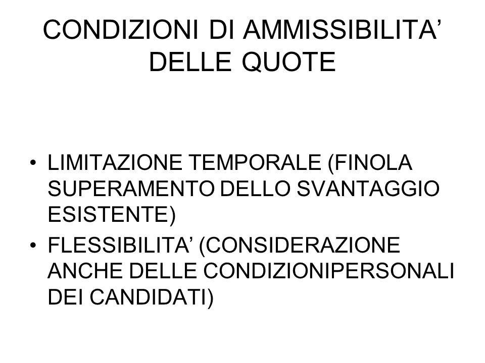 CONDIZIONI DI AMMISSIBILITA DELLE QUOTE LIMITAZIONE TEMPORALE (FINOLA SUPERAMENTO DELLO SVANTAGGIO ESISTENTE) FLESSIBILITA (CONSIDERAZIONE ANCHE DELLE