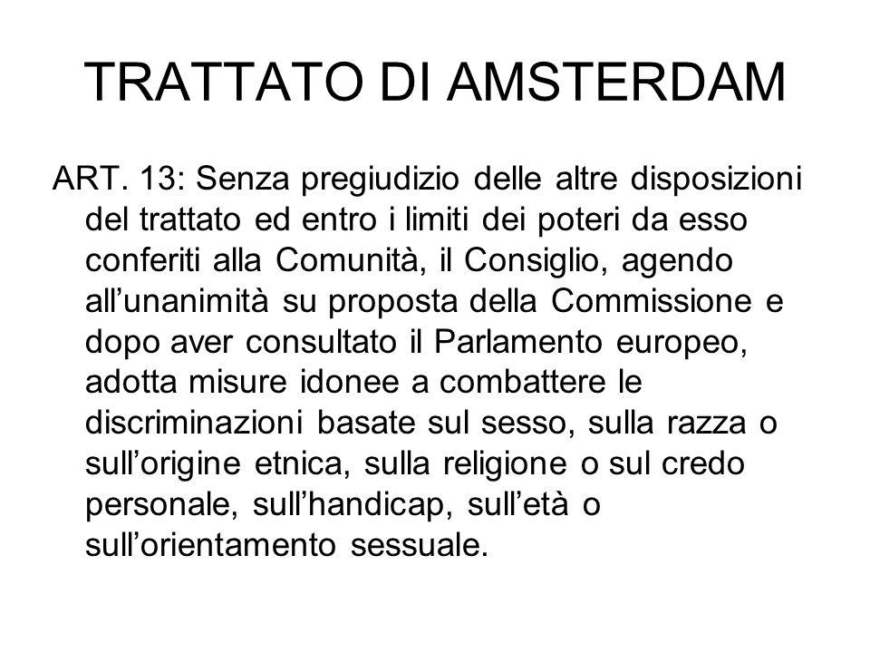 TRATTATO DI AMSTERDAM ART. 13: Senza pregiudizio delle altre disposizioni del trattato ed entro i limiti dei poteri da esso conferiti alla Comunità, i