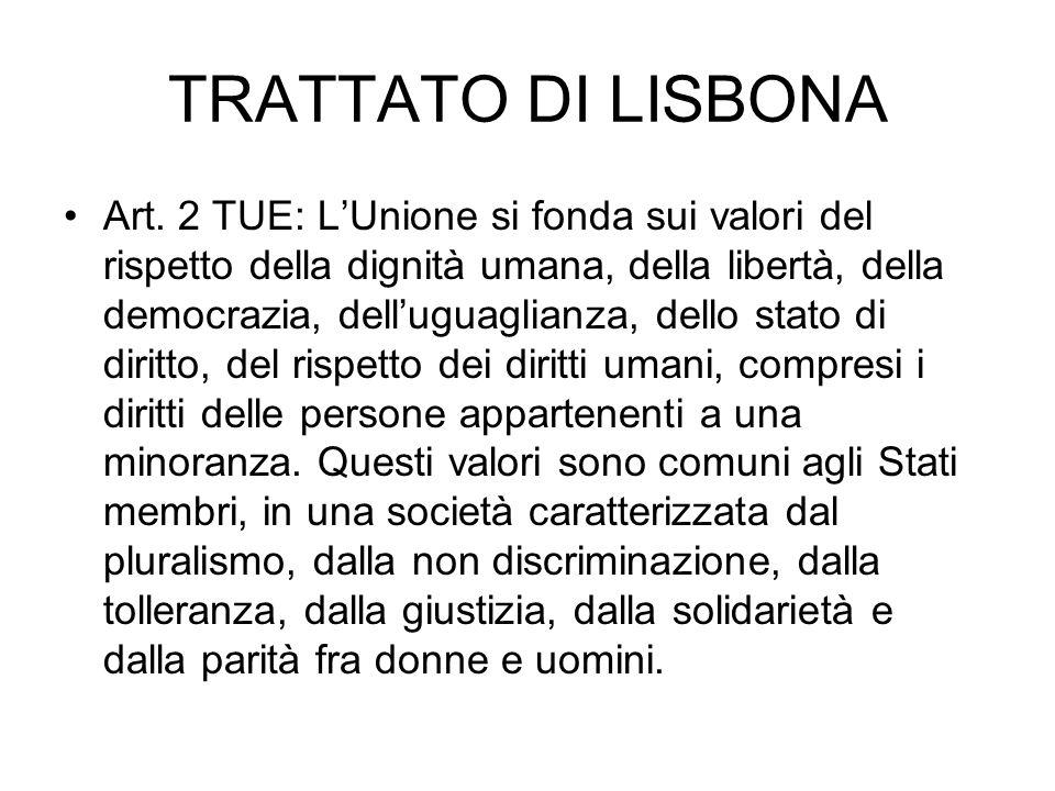 TRATTATO DI LISBONA Art. 2 TUE: LUnione si fonda sui valori del rispetto della dignità umana, della libertà, della democrazia, delluguaglianza, dello