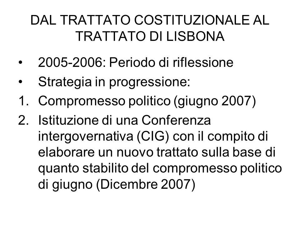 DAL TRATTATO COSTITUZIONALE AL TRATTATO DI LISBONA 2005-2006: Periodo di riflessione Strategia in progressione: 1.Compromesso politico (giugno 2007) 2