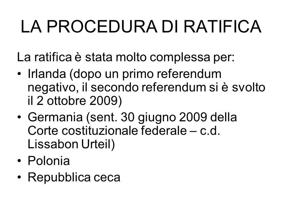 LA PROCEDURA DI RATIFICA La ratifica è stata molto complessa per: Irlanda (dopo un primo referendum negativo, il secondo referendum si è svolto il 2 ottobre 2009) Germania (sent.