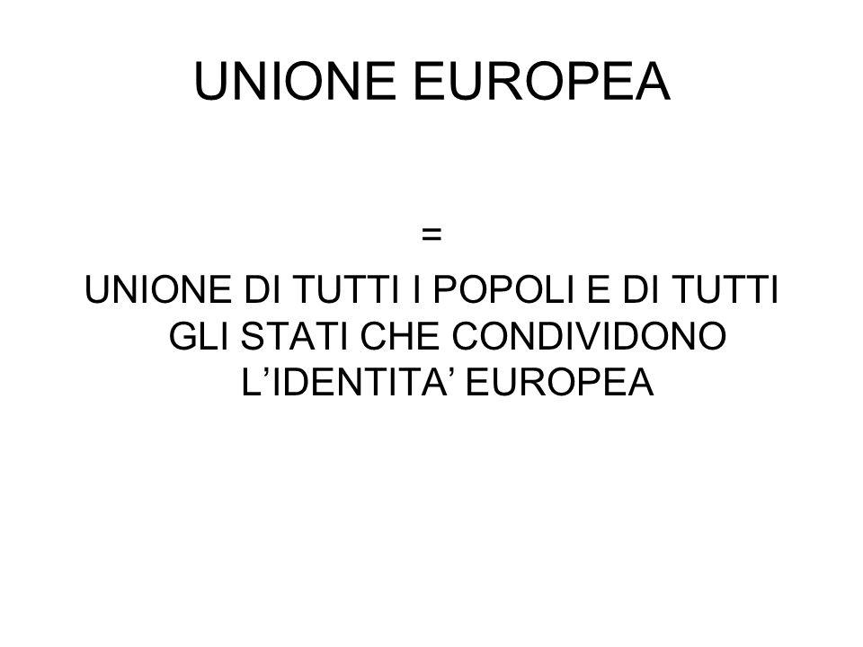 UNIONE EUROPEA = UNIONE DI TUTTI I POPOLI E DI TUTTI GLI STATI CHE CONDIVIDONO LIDENTITA EUROPEA